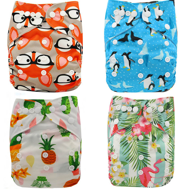 Ohbabyka Baby Cloth Diapers Reusable Nappies Character Unisex Baby Care Pants Waterproof Pocket Cloth Diaper Baby Shower Gifts