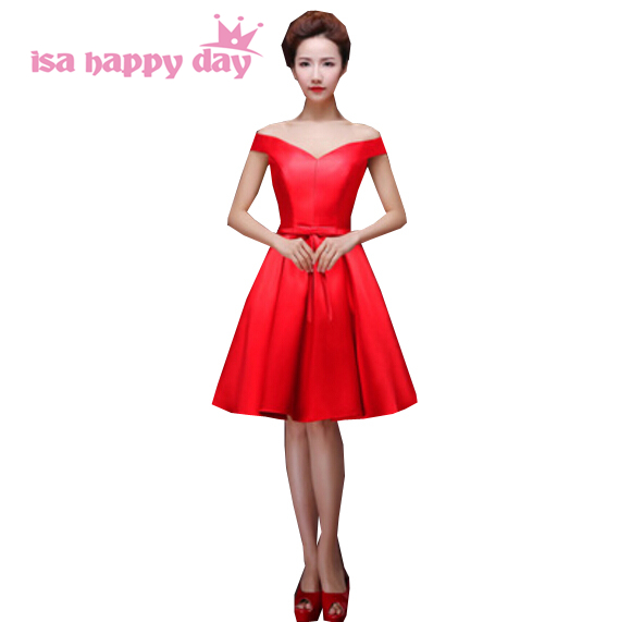 red lace up back knee length girls short satin bridesmaid dress beautiful bridemaids dresses with sleeveless for weddings H2644