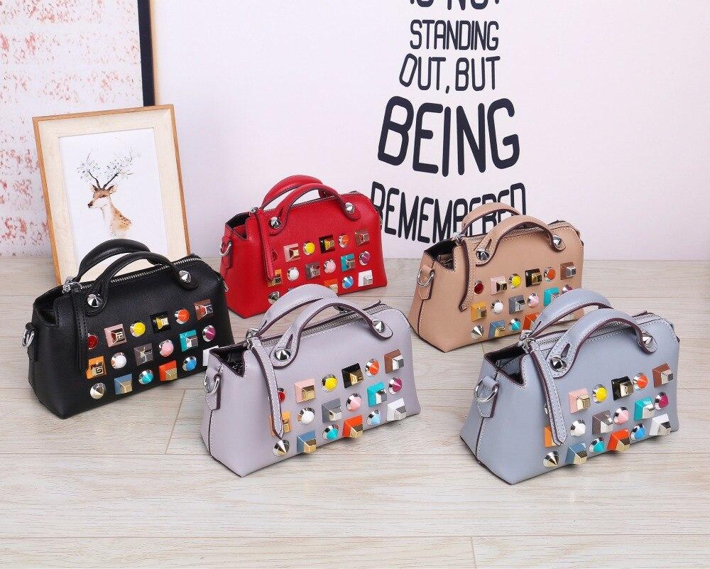 Women Brand Shoulder Bag Genuine leather Fashion Colorful Rivet Small Black Crossbody Messenger Bags Color Straps Wide Handbags