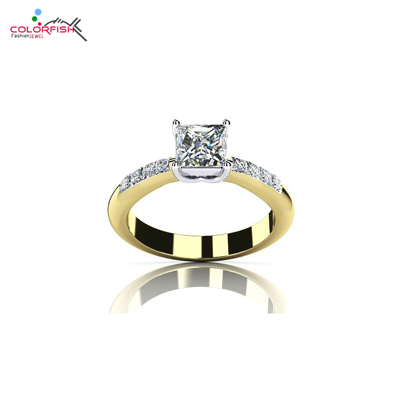 COLORFISH 2 Carat Solitaire Engagement Ring 925 Sterling Silver Gold Color Princess Cut SONA NSCD Stone