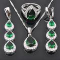 Gota de agua Verde de Piedra Zirconia 925 Plata de La Joyería Pendientes largos/Collar Colgante/JS0461 Suena El Envío Libre
