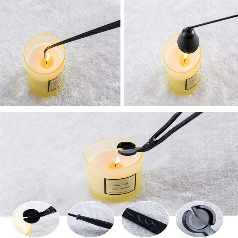 طقم شموع مكون من ثلاث قطع مع مقص ماسك شموع ودريوووك لإكسسوارات الشموع