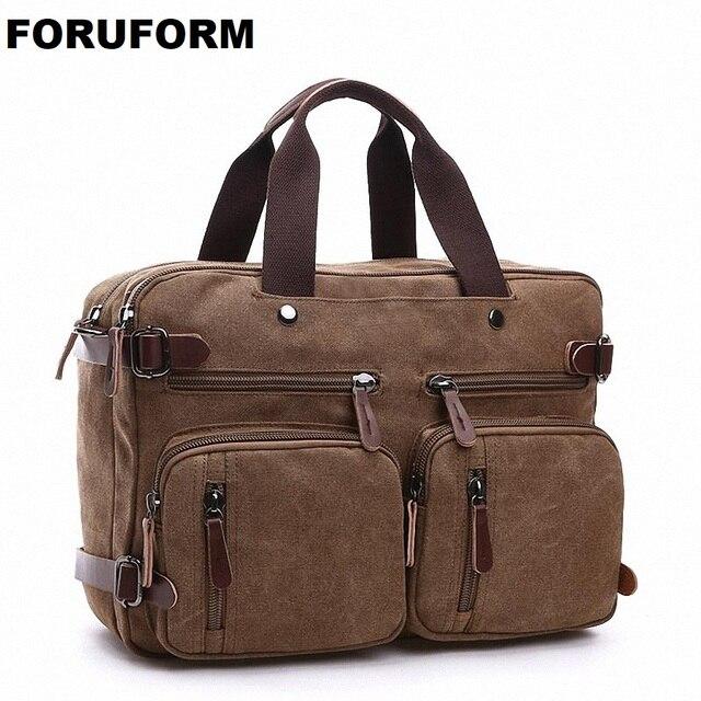 Men Vintage Canvas Messenger Bag Man Travel Shoulder Bag Vintage Many Pockets School Bag Multifunction Handbag LI-1758