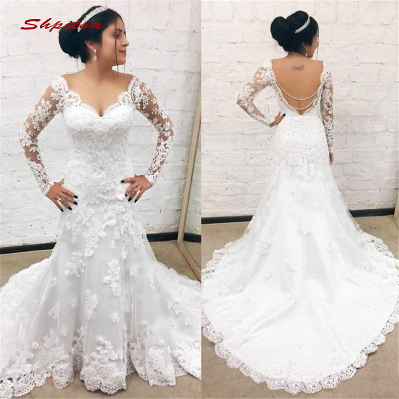 Long Sleeve Lace Wedding Dresses Mermaid Turkey Sequin