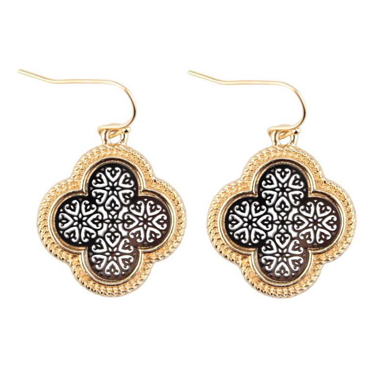 Southern Gold Hollow Out Arabesque Quatrefoil Clover Heart Earrings for Women 2017 Brand ...