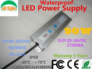 90W IP67 Waterproof LED Driver 2700MA 20V 36V Power Supply Adapter Flood Light Street Lights 110V 220V CE Lighting transformer