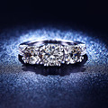 2016 hot sale women engagement silver Plated ring  lady jewelry zircon jewellery ring wholesale us 6 7 8