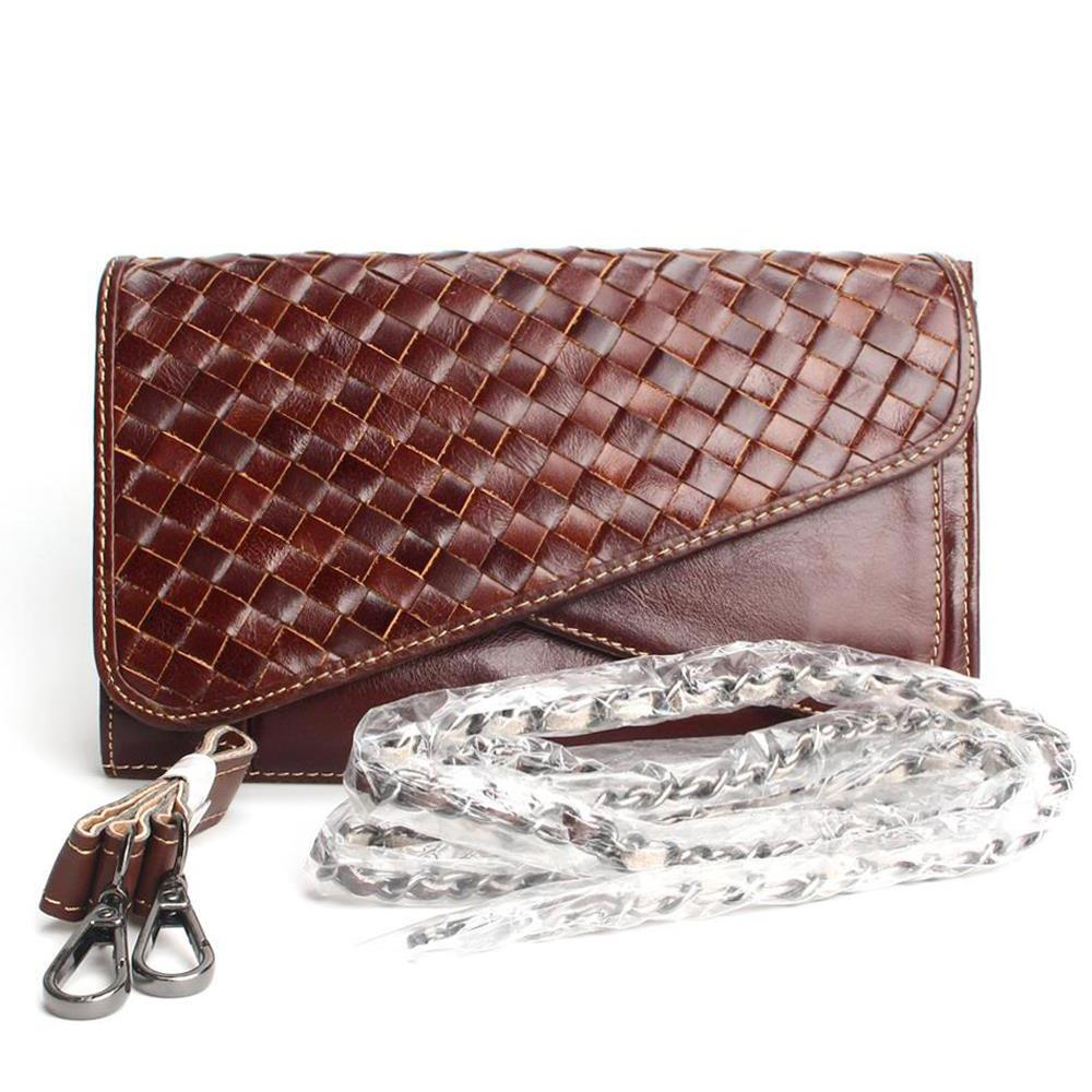 ФОТО 100% Genuine Leather Weave Sytle Shoulder Bag Women Handbag Retro Oil Waxing Clutch Ms. Full Leather Bag