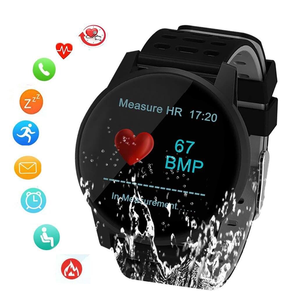 Reloj deportivo inteligente SUNROAD control de frecuencia cardíaca y presión arterial podómetro reloj Digital con recordatorio de mensaje resistente al agua IP67-in Relojes deportivos from Relojes de pulsera    1