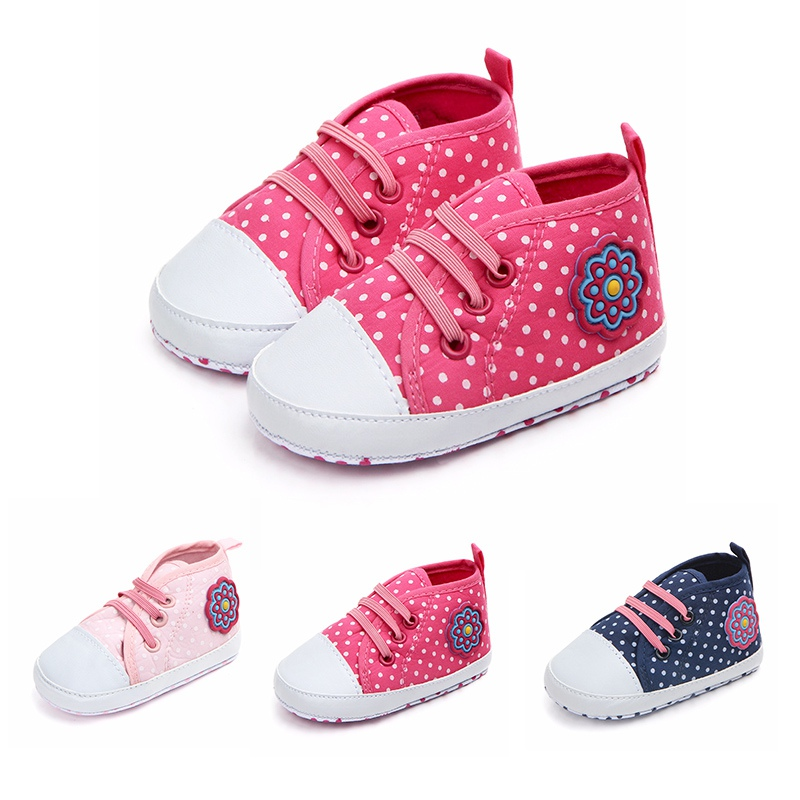 Autumn Newborn Toddler Shoes Baby Girl Small Dot Elastic Band Canvas Casual Shoes New Baby Soft Bottom Non-Slip The First Walker