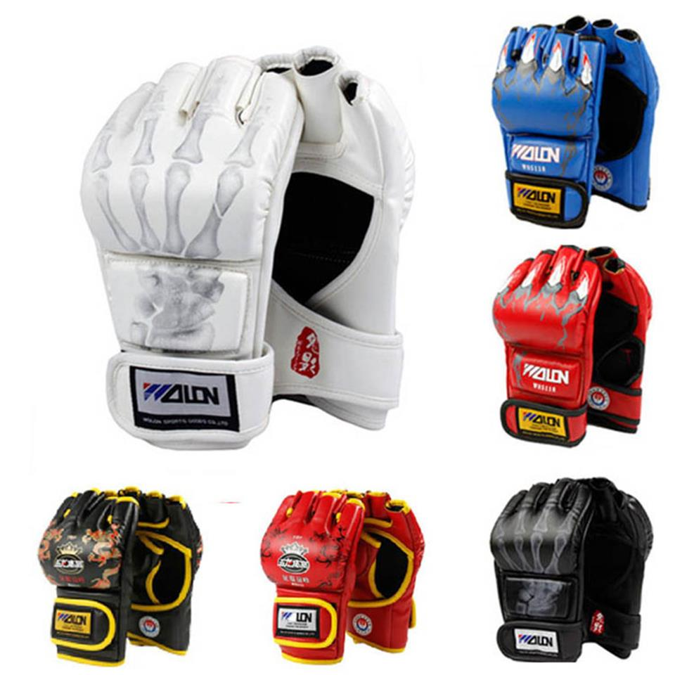 Adult Thick Boxing Gloves MMA Gloves Half inger Sanda Taekwondo Fight MMA Sandbag Glove Professional Training Equipment цена
