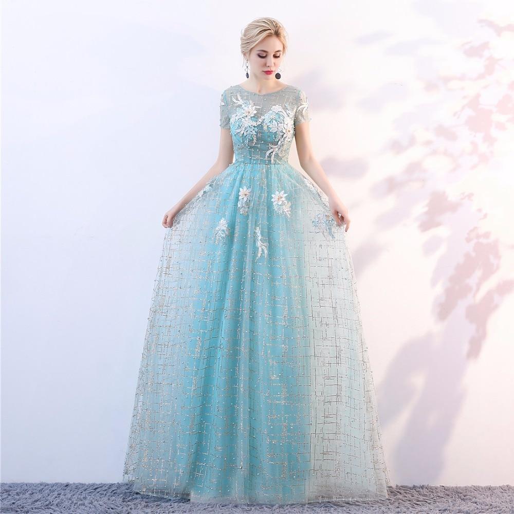 2018NEW O-Neck Pärlor Bodice Open Back En Line Long Evening Dress - Särskilda tillfällen klänningar - Foto 2