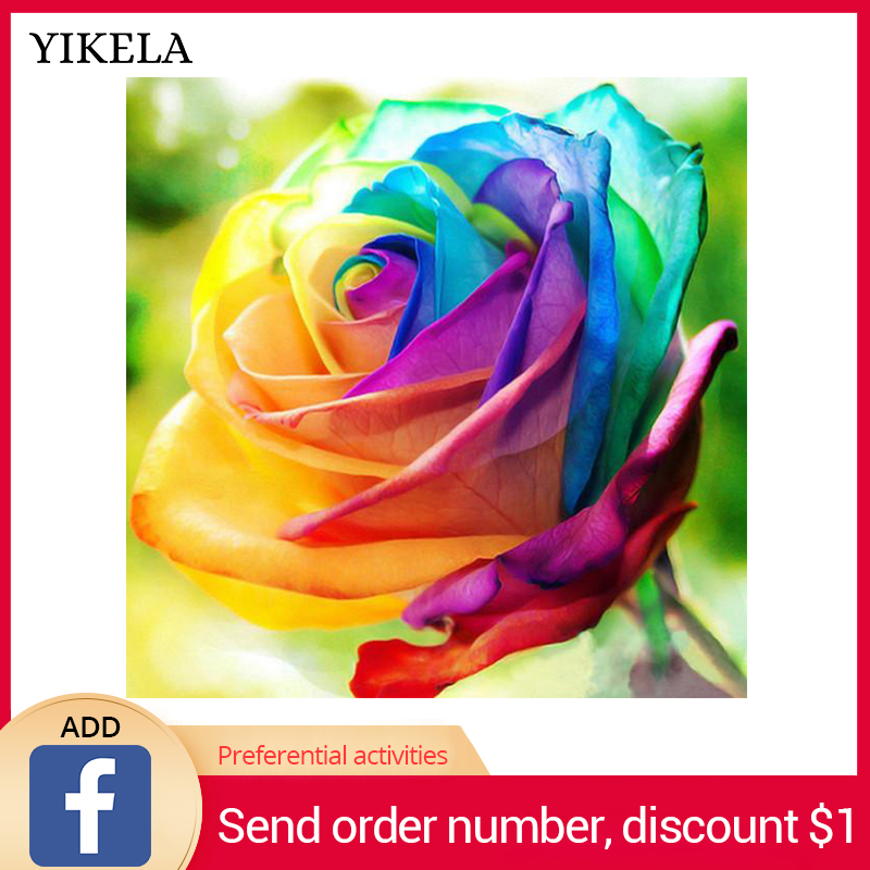 Full Square Diamond Painting Rainbow Rose Diamond Embroidery Rhinestone Mosaic Flowers Cross Stitch Home Decor Wall Stickers in Diamond Painting Cross Stitch from Home Garden