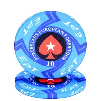 Jeu de jetons de Poker EPT en céramique professionnel jetons de Poker Set jeu de société européenne jetons de Poker 10 pcs/lot 1