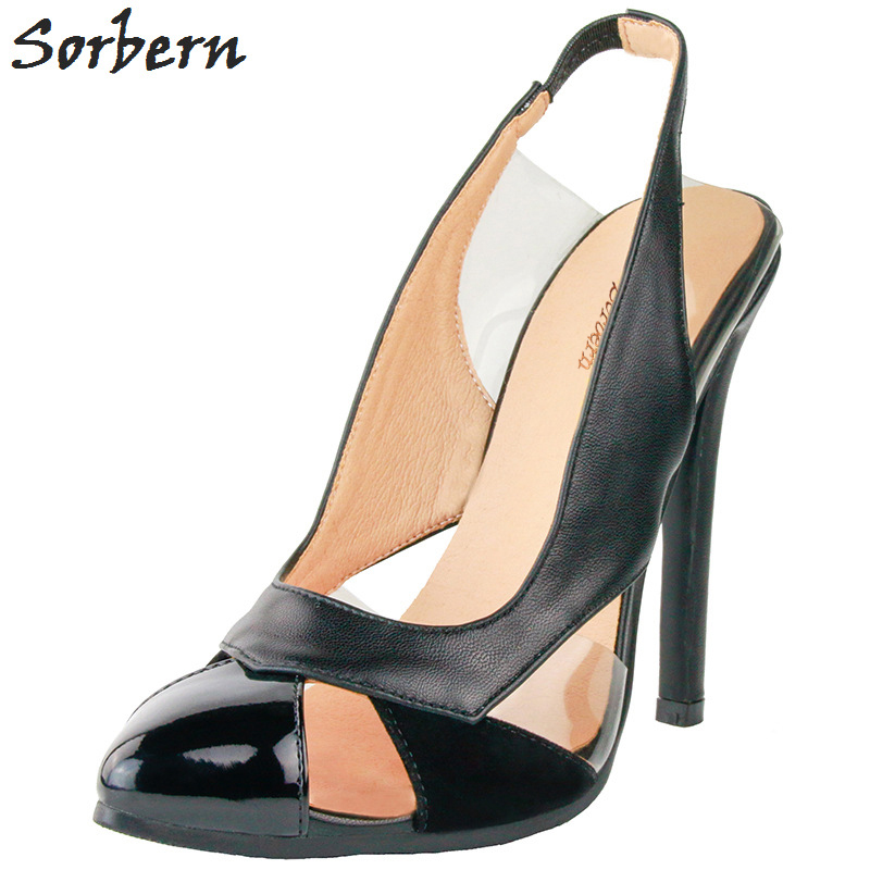 Sorbern Black Women Pumps 2018 Pumps Women Shoes Pointed Toe PVC Chaussure Femme Elastic Band Womens Shoes Heels Hot Sale 2016 red womens pumps chaussure femme cheap shoes for women real image fashion custom made ladies party evening shoes hot