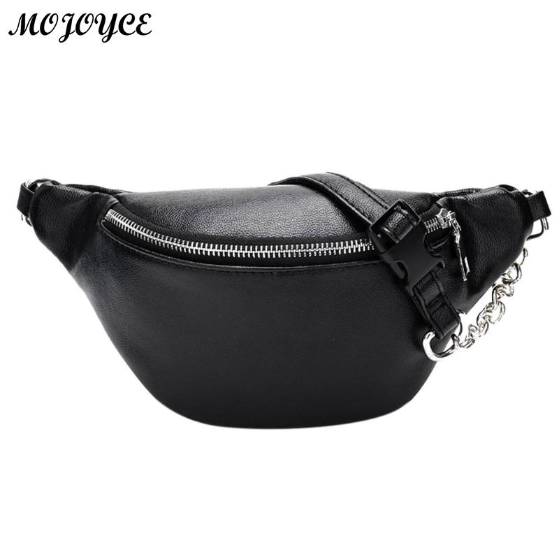 Classic Black White Waist Pack Fashion Chain PU Lychee Leather Waist Bag Waterproof Anti Theft Girls Walking Shopping Belt Bags