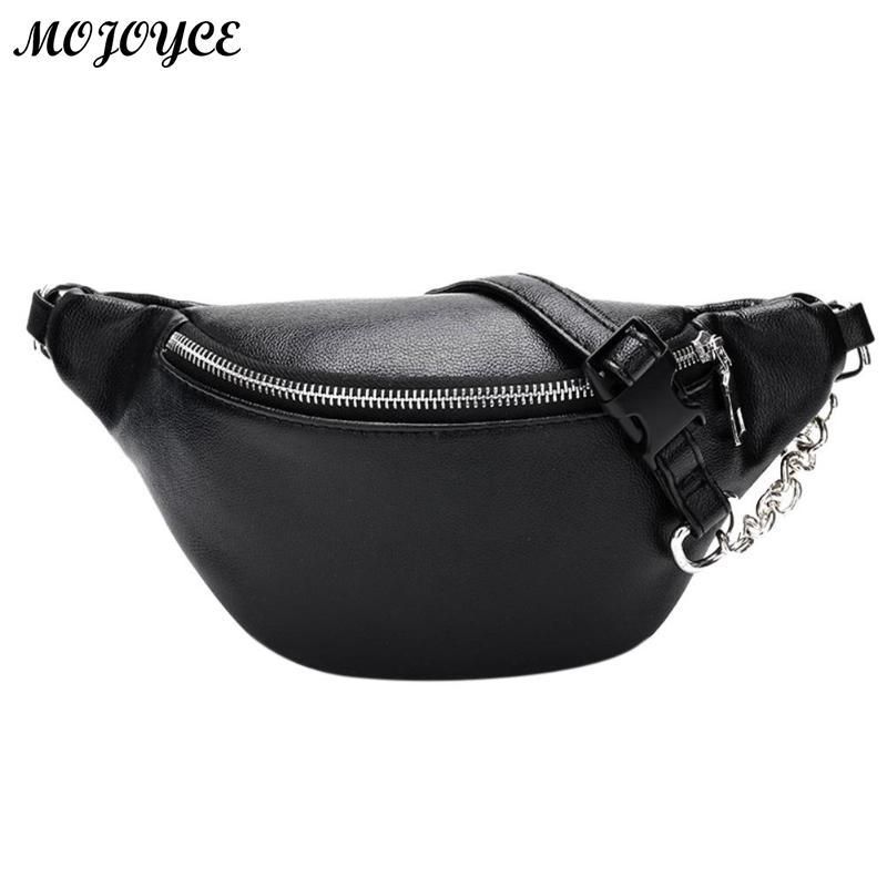 Classic Black White Waist Pack Fashion Chain PU Lychee Leather Waist Bag Waterproof Anti Theft Girls Walking Shopping Belt Bags