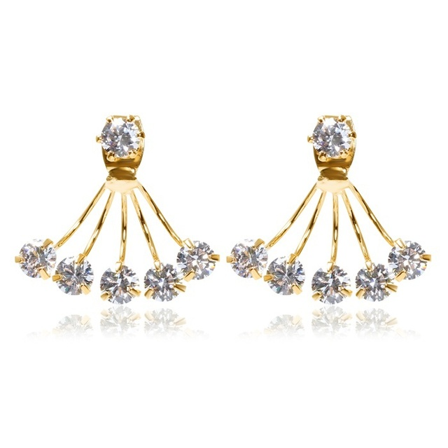 a24da3d56 New Front and Back 18K Yellow Gold Plated Five Claw Cyrstals Double-sided  Stud Earrings