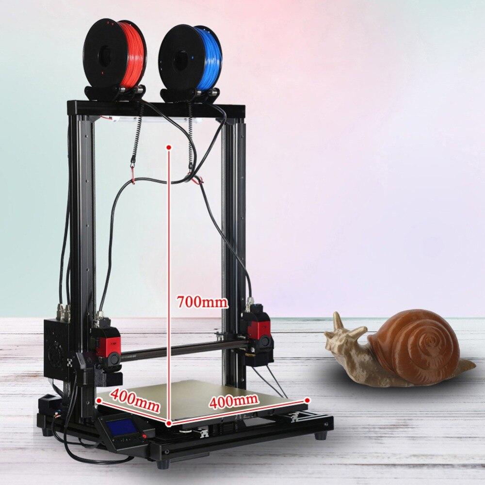 VIVEDINO 3d imprimante avec 1 kg filament indépendant double extrudeuse poulie version énorme taille de 400*400*700 imprimante