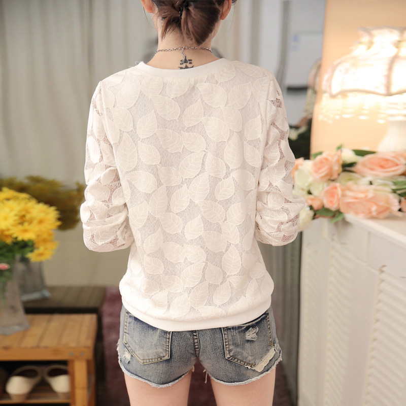 Mujer 501 Blusa Sólido Primavera Estilo Moda H White Novedad 25 2017 Larga Camisa Casual Color Manga De Encaje Coreana R6wAIr6q