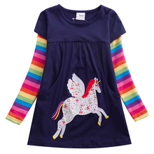 Girls Unicorn Dress Sequined Vestidos Kids Party Casual Tutu Children Licorne Autumn and Winter LH5806
