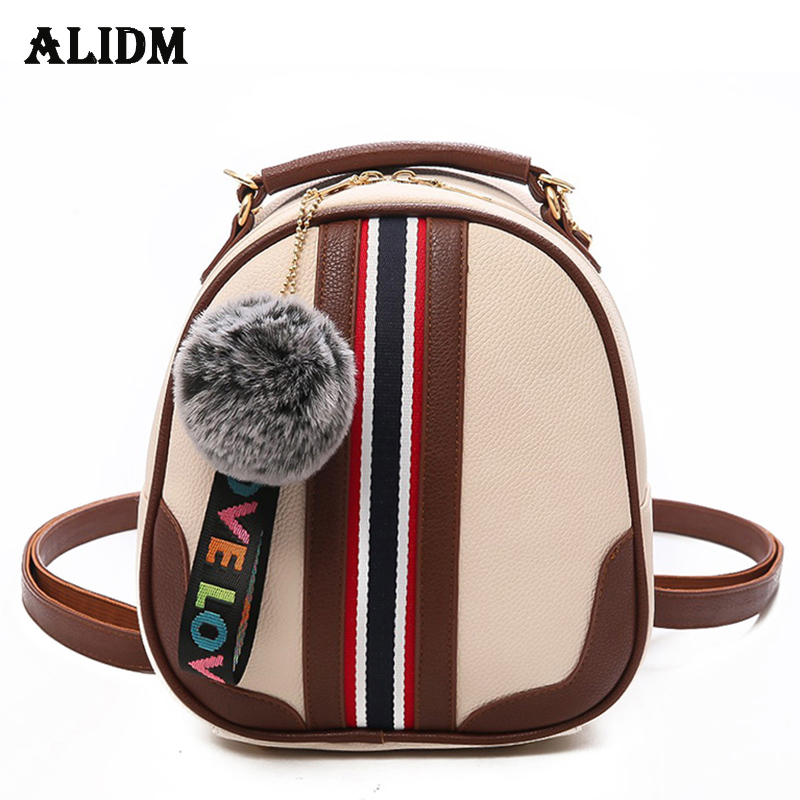 2018 Small Women Backpack Fashion Striped Leather Backpacks School Bags For Teenage Girls Multifunction Women Back Pack Fur Ball