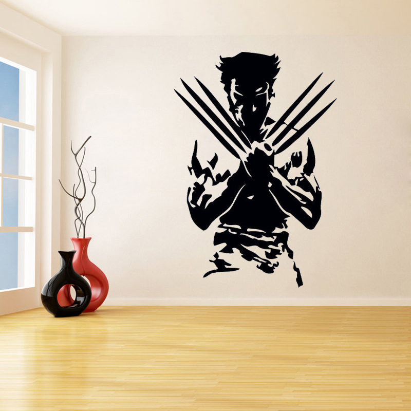 Boys Playroom Wall Sticker Wolverine from X Men Home Decoration Vinyl Art Removable Poster Mural Modern Fashion Ornament LY1278 in Wall Stickers from Home Garden