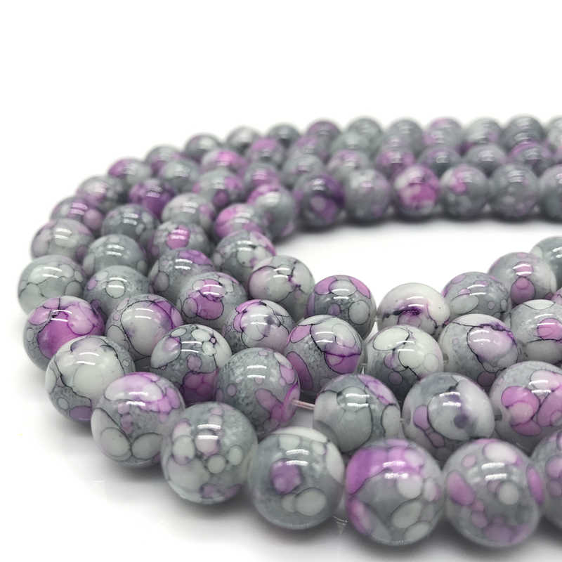 Wholesale 6 8 10 mm Unmatched Glass Loose Spacer Charm Beads Pattern Making Bracelet Necklace Jewelry #06