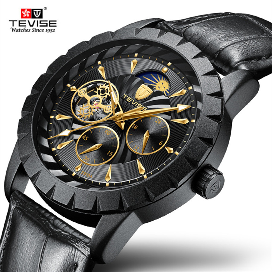 TEVISE New Black Men's Skeleton Leather Wristwatch Casual Automatic Skeleton Mechanical Watches Luxury Waterproof Male Clock hermle® iron skeleton wall clock