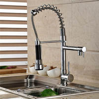 Kitchen Chrome Plating Hot Cold 2 Outlet Spring Pull Down Kitchen Faucet Dual Spouts 360 Swivel