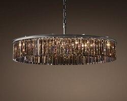 Amerykańska RH szklana rura kryształowa lampa sufitowa wisząca lampa LED okrągła okrągła salon siedząca jadalnia retro lampa sufitowa w Wiszące lampki od Lampy i oświetlenie na