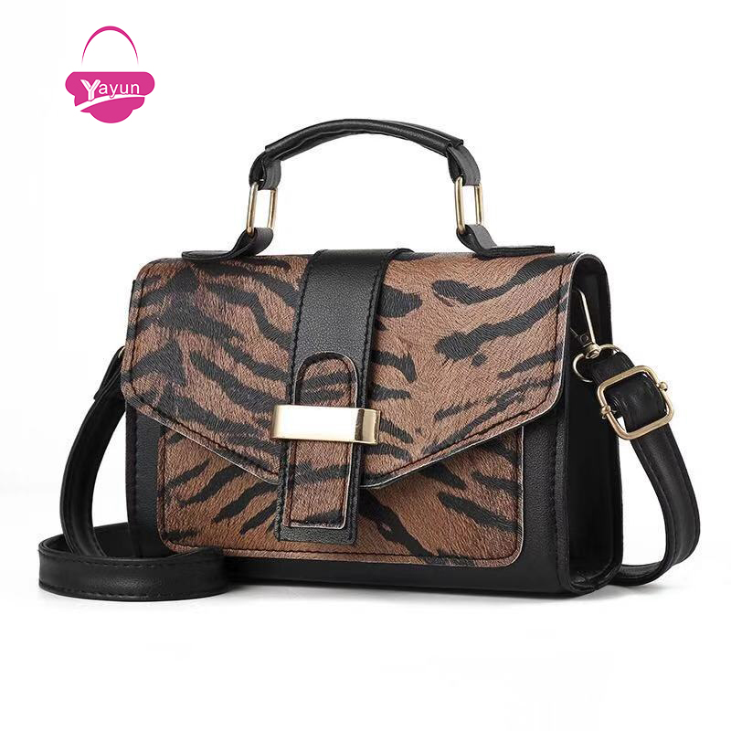 Fashion metallic magnetic buckle mini leopard print small square bag shoulder bag oblique bag female designer handbag