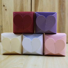 100pcs/lot DIY Wedding Love Heart Shape Candy Box Solid Color Simple Style Gift Box Party Supplies White/Red/Pink/Purple/Beige
