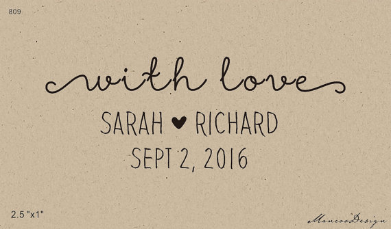 With Love Stamp Custom Curly Wedding Favor Tag Save The Date Rubber 25x1 Inch