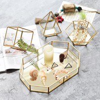 Ins Nordic decorative ornaments creative jewelry tray display box simple modern glass storage tray home decoration accessories