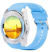 V8 smart watch reloj con ranura para tarjeta sim tf conectividad bluetooth para apple iphone android teléfono smartwatch reloj