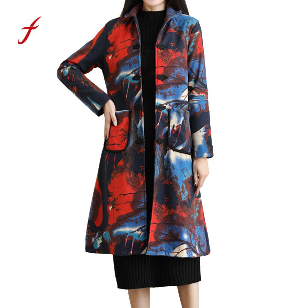 Large Size Women Coat Folk-Custom Print Plus Velvet Cotton Clothes Outwear Warm Long Thick Coat Jacket Parka With Pocket /PT