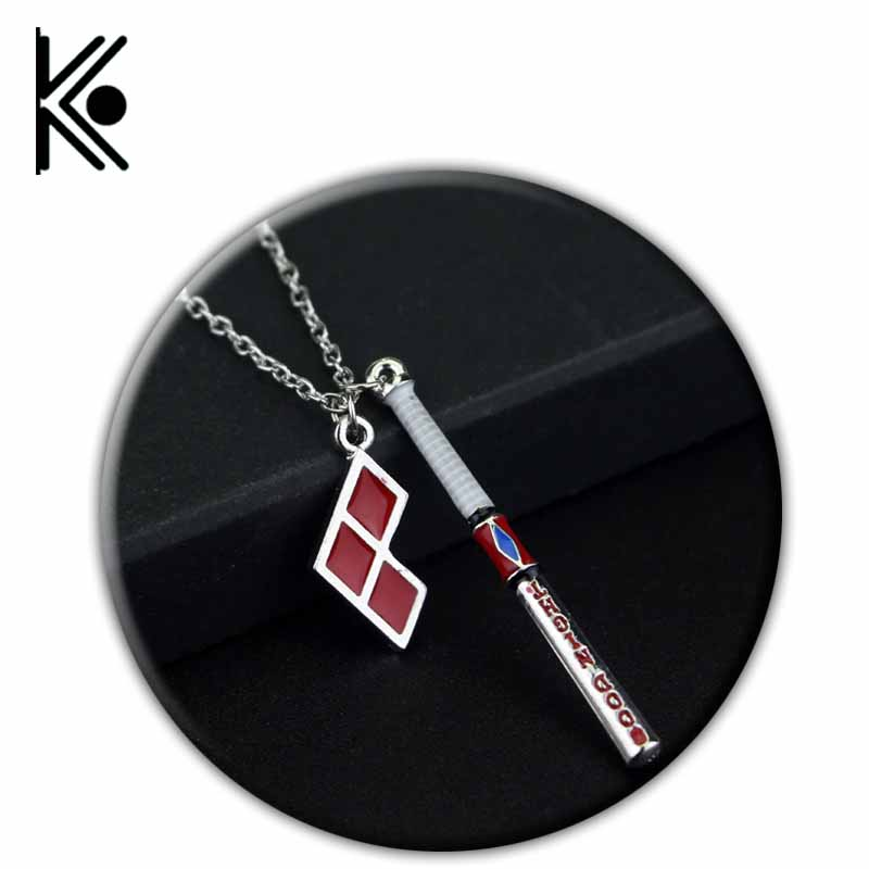 freeshipping Wholesale Movie 20pcs Suicide Squad Clown Baseball Stick Pendant Necklace Alloy Enamel Jewelry Women/girls gifts