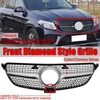 High Quality Diamond Grill W292 Car Front Grill Grille For Benz GLE For Coupe Sport W292 C292 GLE350 GLE400 2015 2018 And Camera