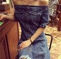 Verão de 2017 denim dress coreano do vintage desgastado borla fino fora do ombro uma linha azul jeans dress curto vestido de jeans 1290