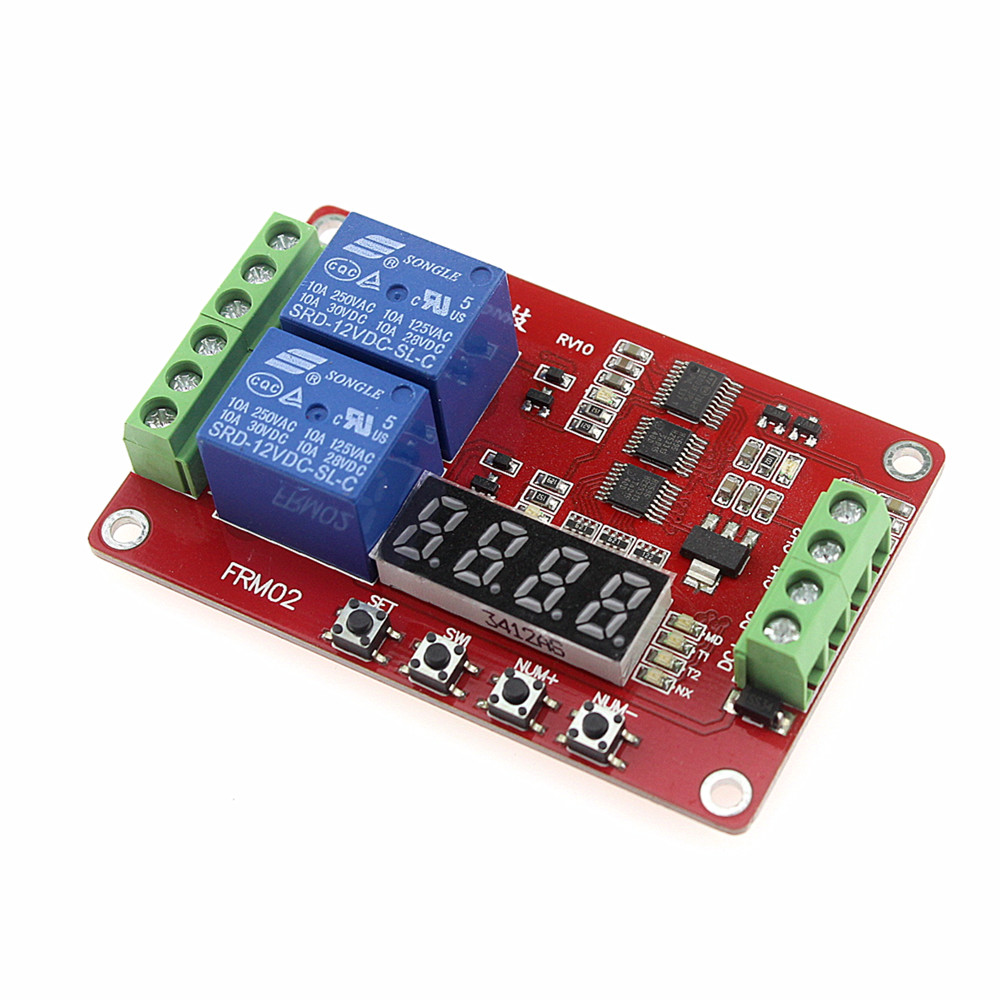 FRM02 Relay Module / Delay / Auto-lock / Cycle / Timing Relay Module / 18 Kinds of Functions Can Be Set 12v timing delay relay module cycle timer digital led dual display 0 999 hours