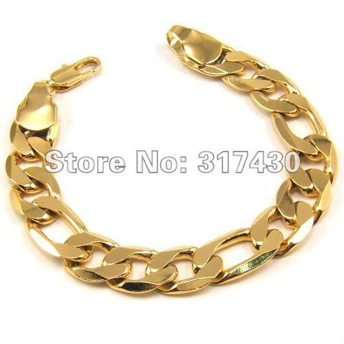 """Low Price mens Bracelet , 18K Yellow Gold Filled link chain 8"""" 3x1 Figaro Chain Width 12mm Fashion Jewelry hot sales"""