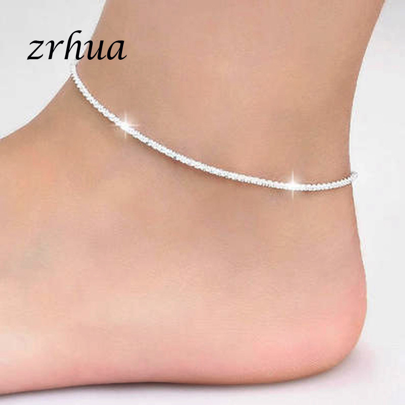 ZRHUA Fashion Simple Chain For Women Anklet Hot Sale 925 Sterling Silver Anklets Bracelet For Women Foot Jewelry Accessories