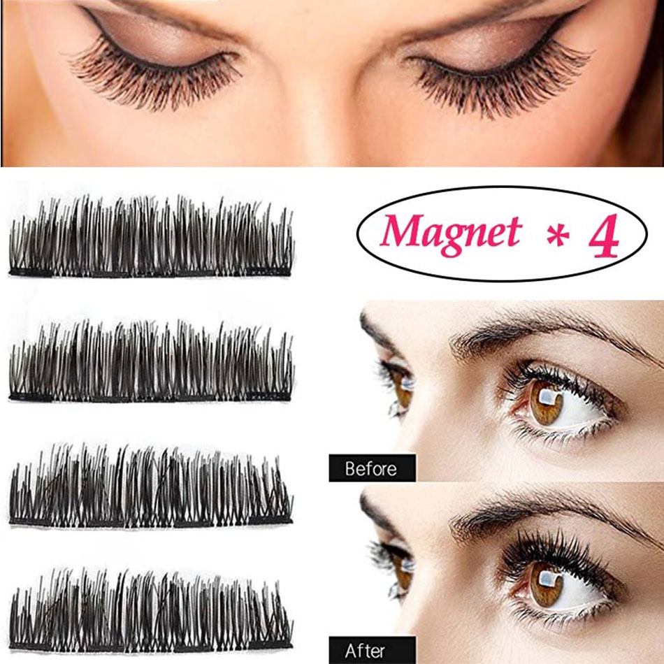 Gxo Beauty1pair False Magnetic Eyelashes Extension No Glue 3d Magnet