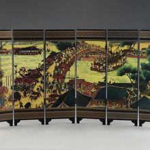 CHINESE LACQUER WARE HAND PAINTING QINGMING FESTIVAL HOME  folding screen DECOR gift