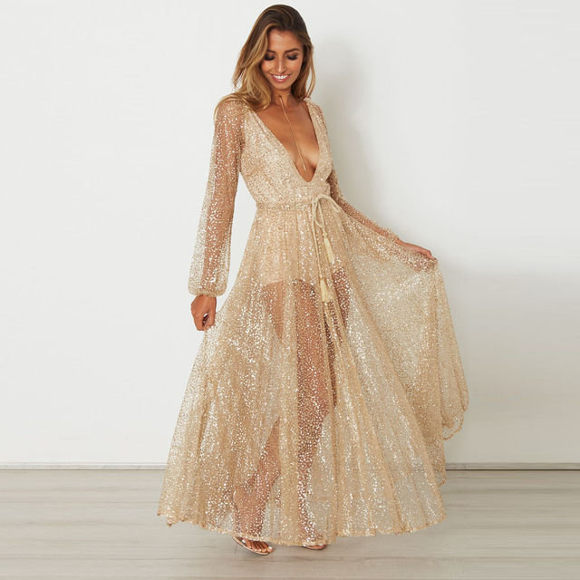 Long Sleeve Gold Sequin Dress Women Glittering Glitter Party Maxi Dresses  Sexy Plunge V Neck Backless Beach Club Dresses-in Dresses from Women s  Clothing on ... 4c923f20929b