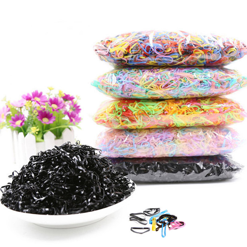 New about 3000Pcs/Lots Girls Colorful Rubber Band Ponytail Holder Elastic Hair Bands Braids Plaits Mini Hair Rope one piece chic flowers patterns nail art print template