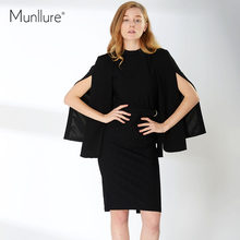 Munllure 2018 New Women Coat Solid Open Sleeves Unique Design Black Asymmetric Length Overcoat Women's Small Suit Jacket(China)