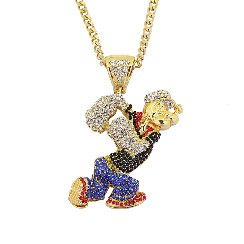 New Men Hip Hop Bling Bling Cartoon Movie Popeye Gold And Silver CZ Crystal Pendant Necklace Cuban Chain Jewelry