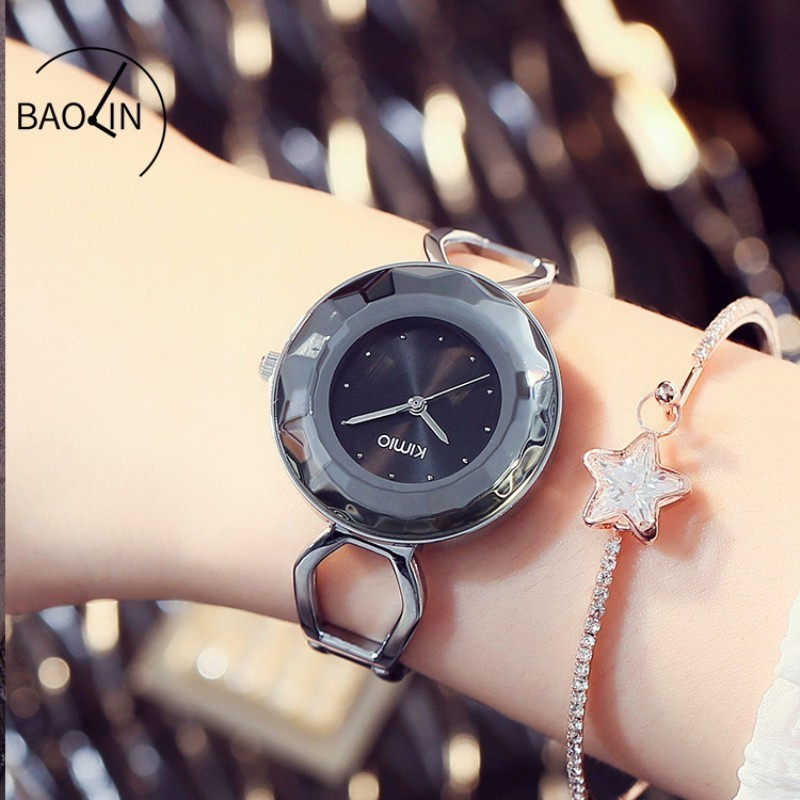 KIMIO Cutting Surface Dial Flying Saucer Case Diamond Skeleton Bracelet Woman Watch Famous Brand Watches For Women Ladies Dress